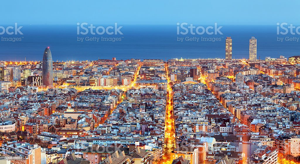 Barcelona skyline, Aerial view at night, Spain stock photo