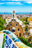 Barcelona Skyline seen from Park Guell, Catalonia. Spain.