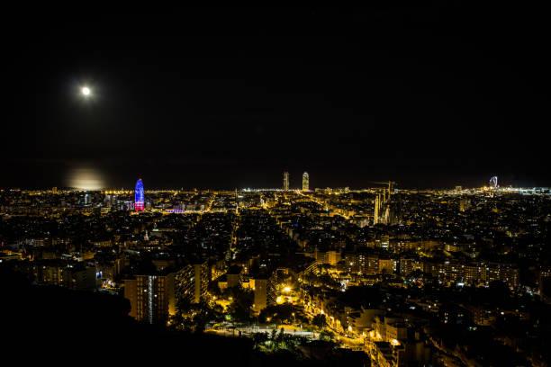 Barcelona skyline panorama bei Nacht – Foto