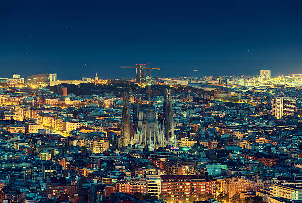 Barcelona skyline panorama at night, Spain stock photo