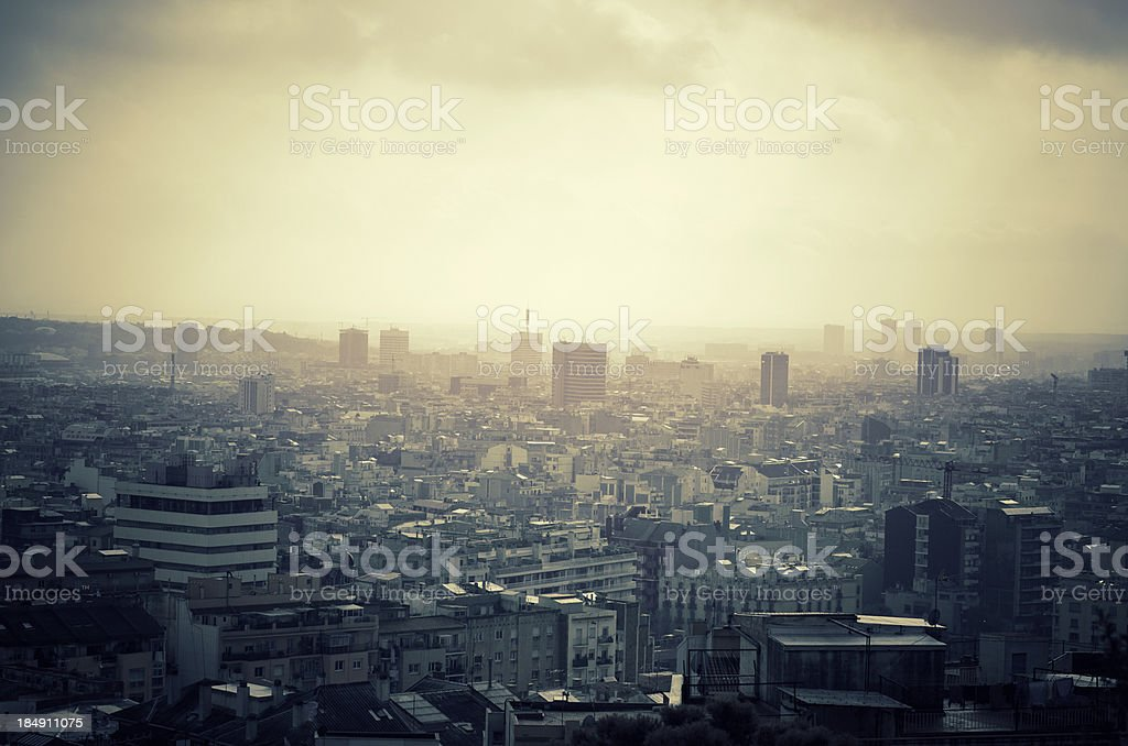 Barcelona skyline panorama from the Hill around royalty-free stock photo