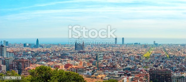 Barcelona, Spain - March 26th, 2017:  View of skyline of Barcelona during the day. Picture taken from park Guell