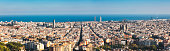 Barcelona cityscape with Sagrada Familia and business district.