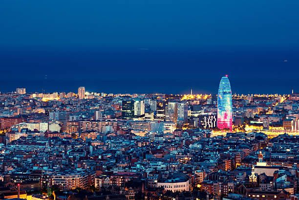 Barcelona skyline, Spain stock photo