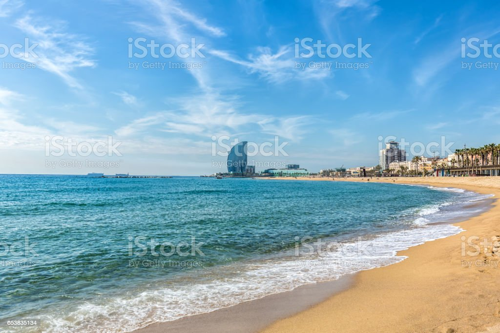 Barcelona Skyline with beach stock photo