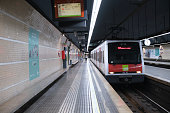 Barcelona, Spain - 10/28/2020 - An almost empty metro station in middle of State of Alarm in Spain