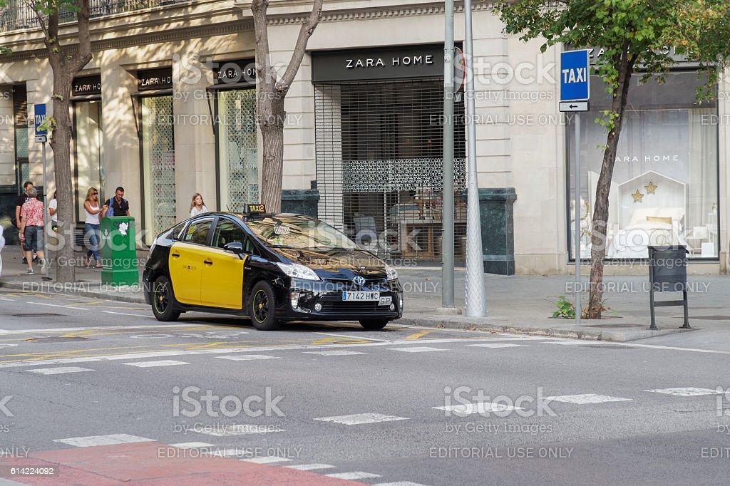 Barcelona, Spain - 25 September 2016: Hybrid taxi in Barcelona. stock photo