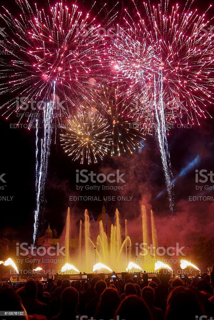 Barcelona, Spain - 25 September 2016: La Merce 2016 fireworks. stock photo