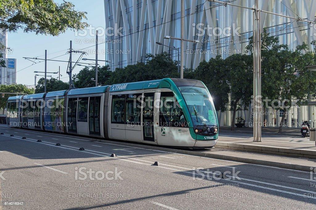 Barcelona, Spain - 25 September 2016: Tram Transport in Barcelona. stock photo