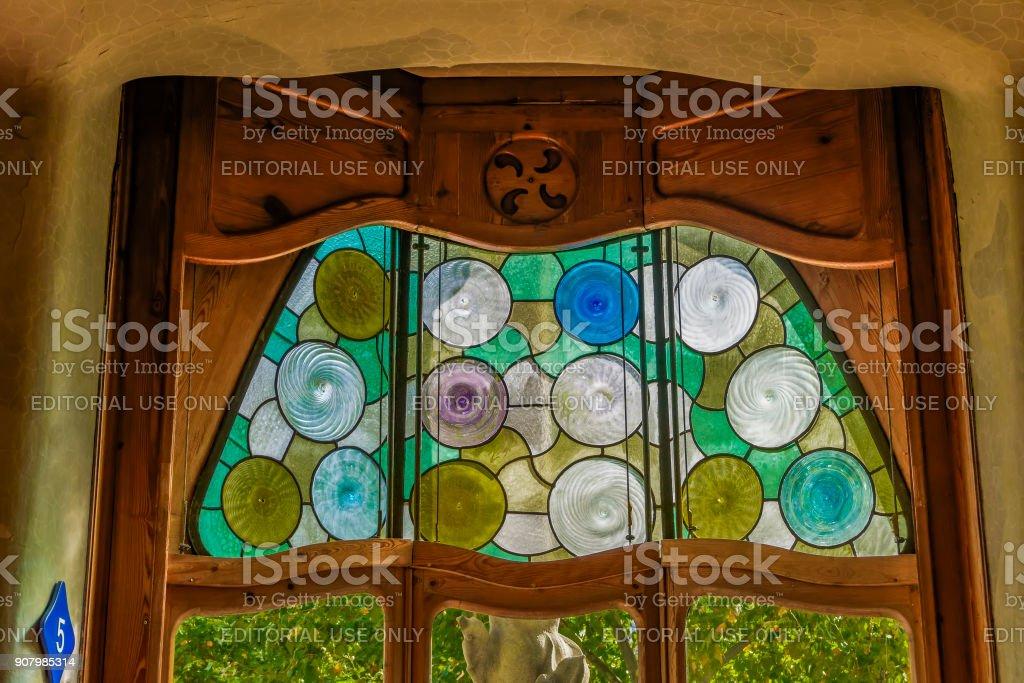 Barcelona, Spain Casa Battlo interior view with organic shapes windows. stock photo