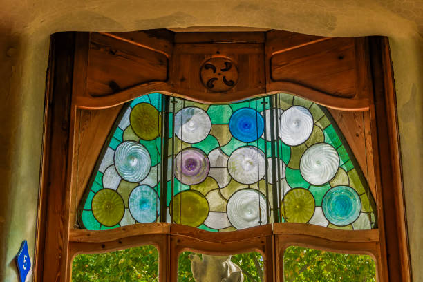 Barcelona, Spain Casa Battlo interior view with organic shapes windows. stock photo