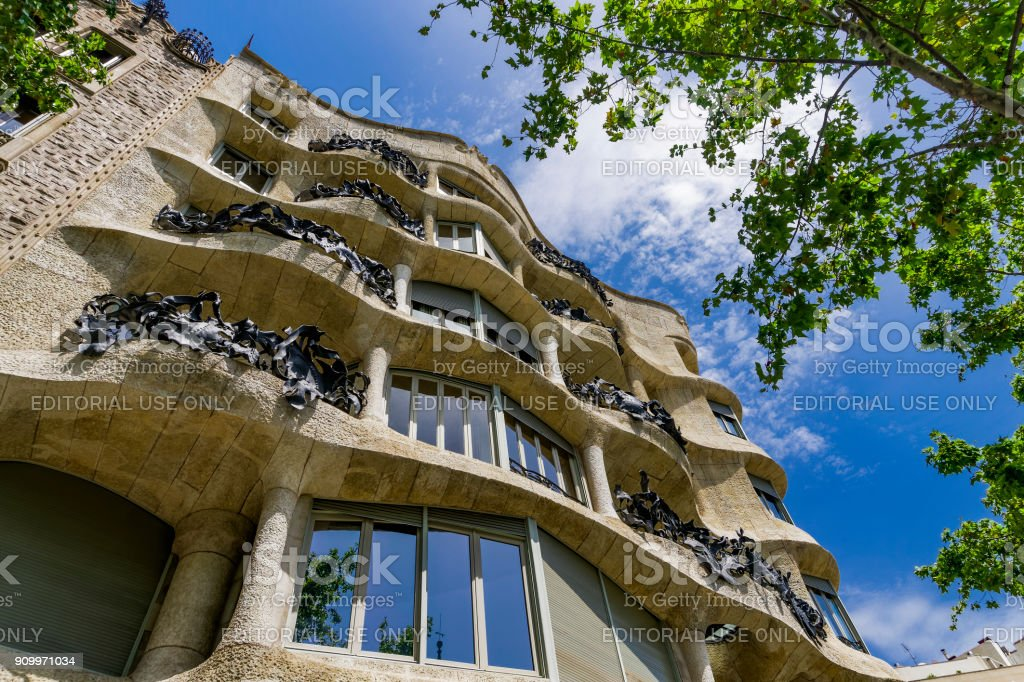 Barcelona, Spain Casa Mila – La Pedrera facade by Gaudi. stock photo