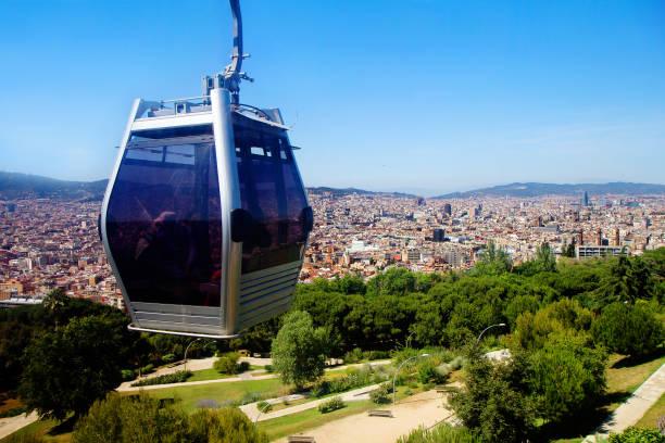 Barcelona, Spanien, Stadtansicht von der Montjuïc-Seilbahn. – Foto
