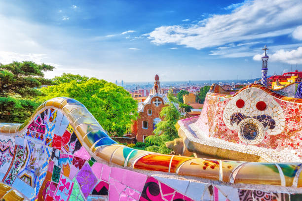 Barcelona, Spain. Gorgeous colorful view of Park Guell - the creation of great architect Antonio Gaudi. UNESCO world heritage site. stock photo