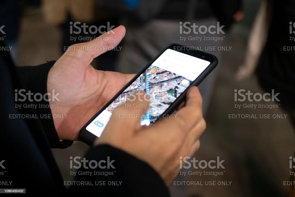 Barcelona Spain January 2 2019 Man Using Smartphone And