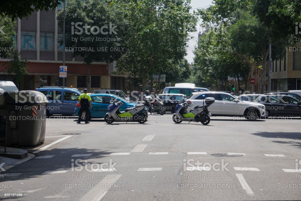 Barcelona, Spain - July 18 2017: Barcelona Police motorcycles blocking traffic. stock photo