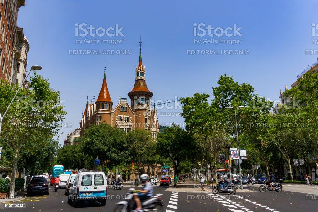 Barcelona, Spain - July 18 2017: Casa de les Punxes facace.External day view of Casa Terradas with traffic at Avinguda Diagonal 420. stock photo