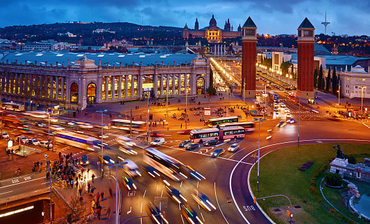 Barcelona, Spain. Nighttime top view at Spanish Square