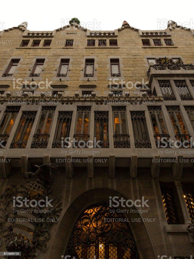 Barcelona, Spain Palau Guell facade. stock photo