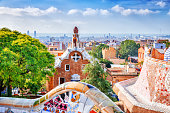 istock Barcelona, Spain, Park Guell. Fanrastic view of famous bench in Park Guell in Barcelona, famous and extremely popular travel destination in Europe. 1006128710