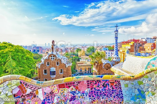 istock Barcelona, Spain, Park Guell. Fanrastic view of famous bench in Park Guell in Barcelona, famous and extremely popular travel destination in Europe. 1006128770