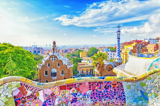 Barcelona, Spain, Park Guell. Fanrastic view of famous bench in Park Guell in Barcelona, famous and extremely popular travel destination in Europe.