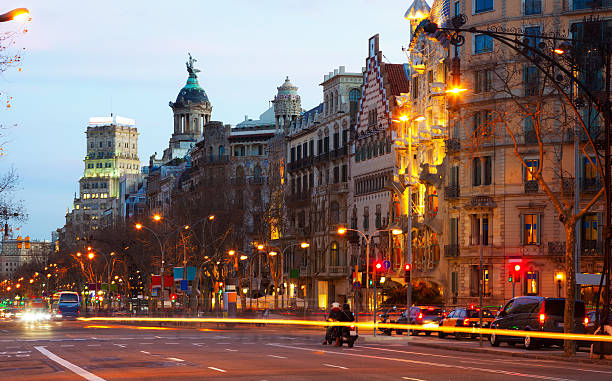 Barcelona, Spain.   Passeig de Gracia in winter sunset View of Barcelona, Spain.   Passeig de Gracia in winter sunset gracia baur stock pictures, royalty-free photos & images