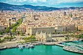 """""""Port in Barcelona, Catalonia, Spain La Rambla famous Street in Barcelona on the left side"""""""