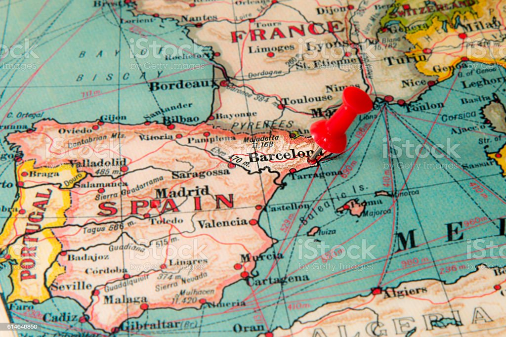 Barcelona Spain Pinned On Vintage Map Of Europe Stock Photo Download Image Now Istock