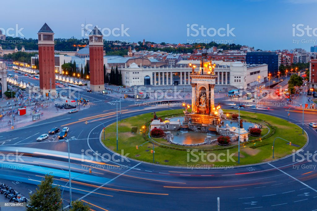 Barcelona. Square of Spain at sunset. stock photo