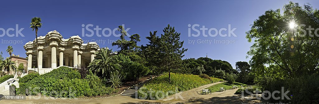 Barcelona sunlight in Gaudí's Parc Guell summer terrace panorama Spain stock photo