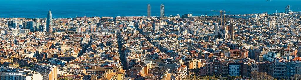 Barcelona sunset cityscape panorama Sagrada Familia Torre Agbar Mediterranean Spain stock photo
