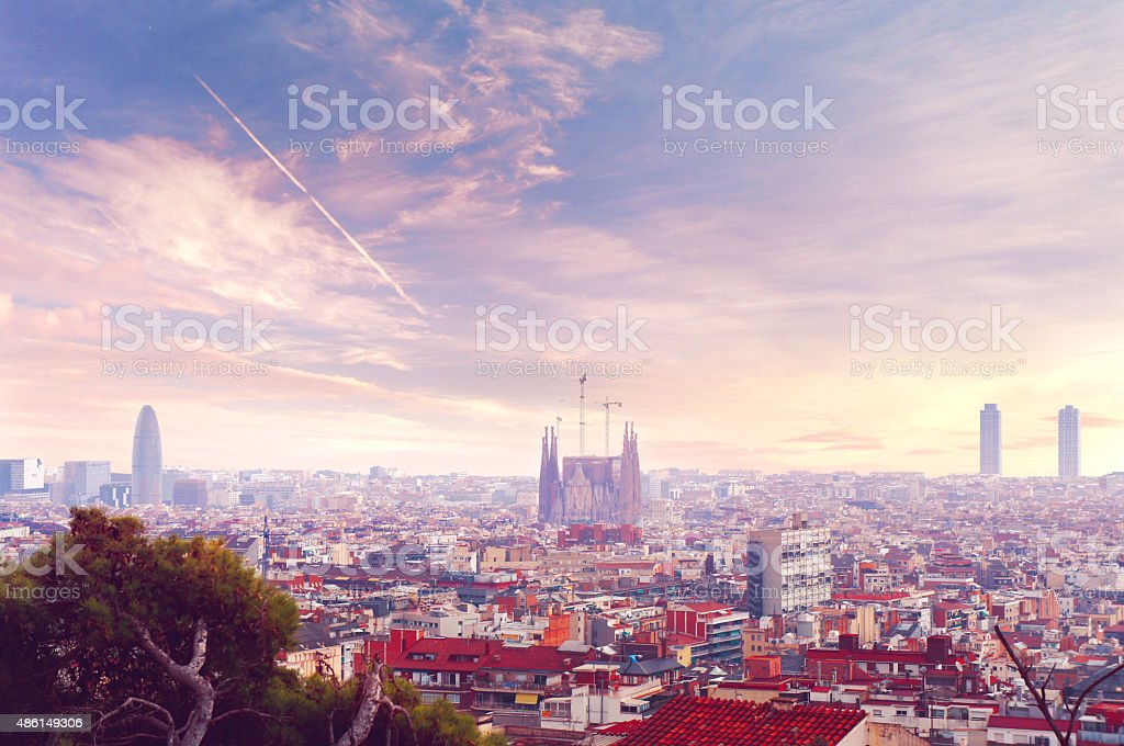 Barcelona sunset skyline view stock photo