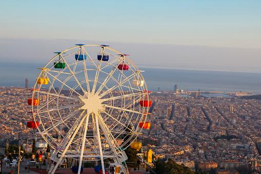 Barcelona Tibidabo Amusement Park With Ferris Wheel Stock Photo - Download Image Now