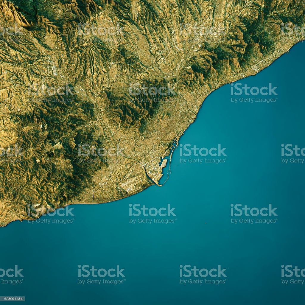 Barcelona Topographic Map Natural Color Top View stock photo