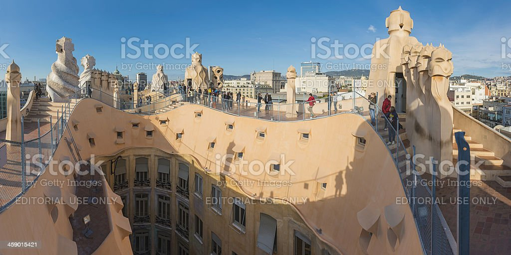 Barcelona tourists on Gaudi's La Pedrera Casa Mila Spain stock photo
