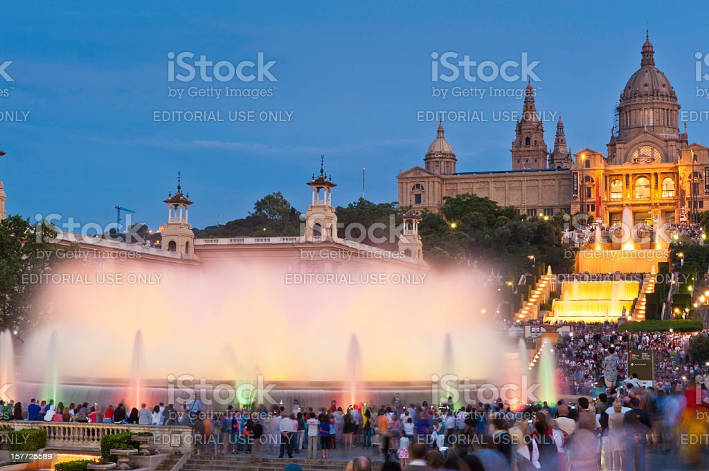 Barcelona tourists watching Magic Fountain MNAC museum Spain stock photo