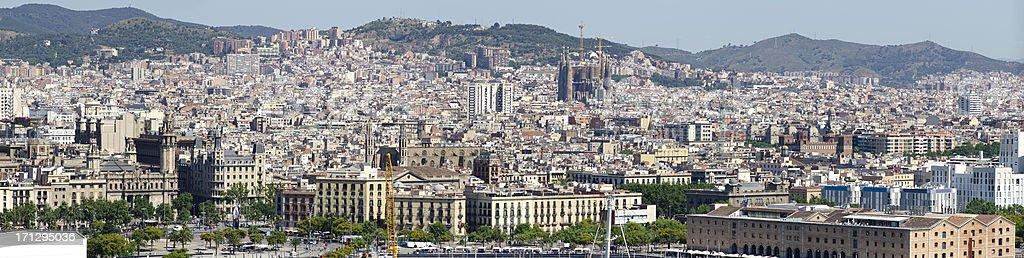 Barcelona urban panorama stock photo