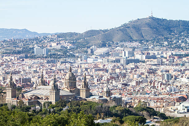Barcelona view with MNAC stock photo