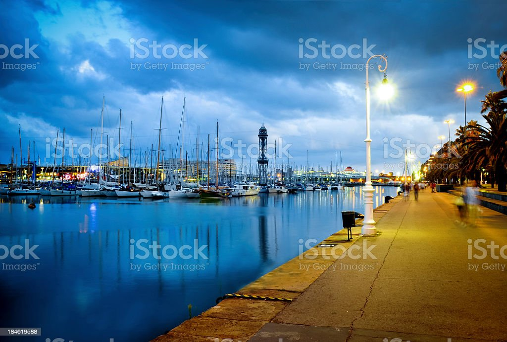Barcelona waterfront promenade royalty-free stock photo