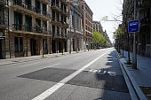 Barcelona´s Carrer Balmes, normally a very busy street, now empty, during Covid-19 lockdown