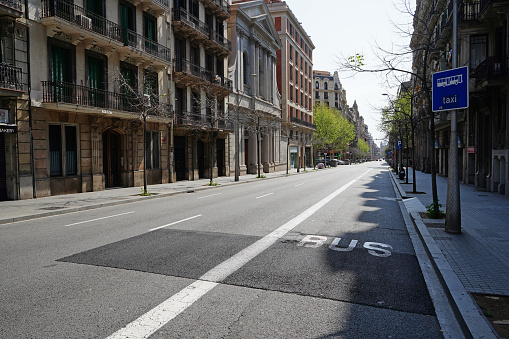 Barcelona´s deserted streets during Covid-19 quarantine lockdown