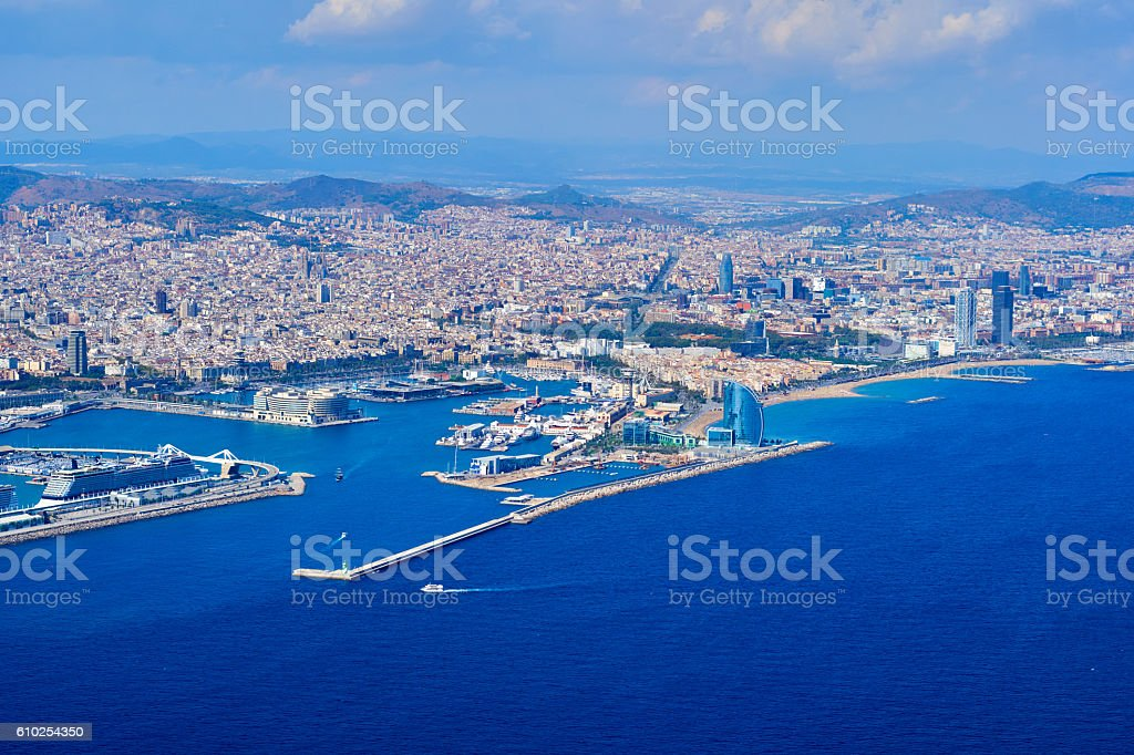 Barcelona's port from the air - foto de stock