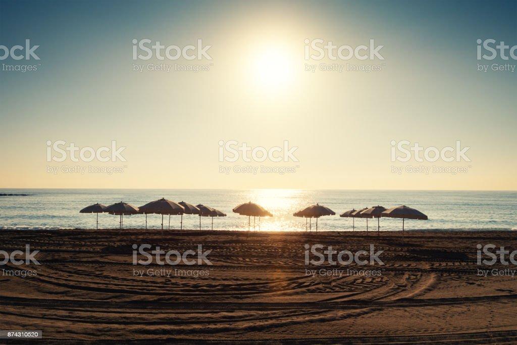 Barceloneta Beach At Sunrise stock photo