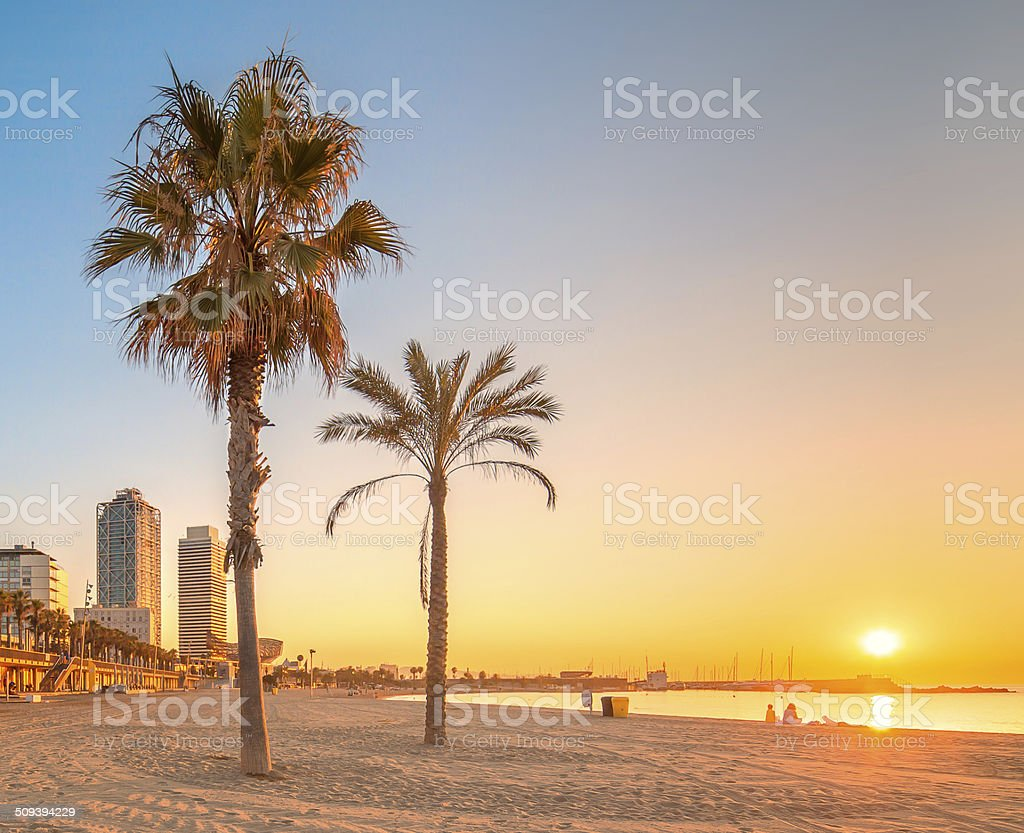Barceloneta Beach in Barcelona at sunrise stock photo