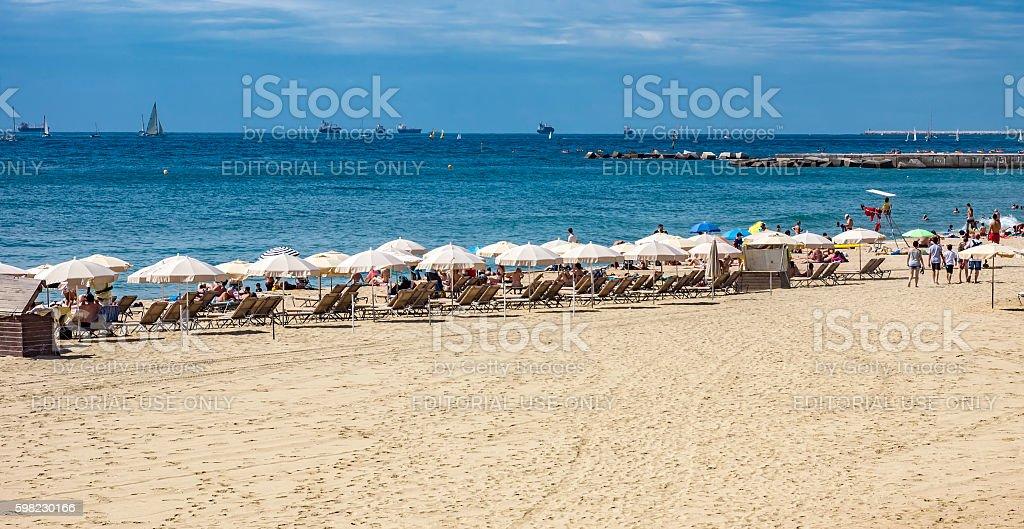 Praia de Barceloneta em Barcelona, Espanha foto royalty-free