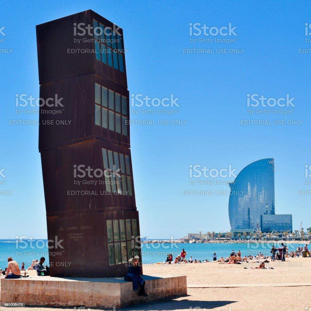 Barceloneta Beach in Barcelona, Spain stock photo