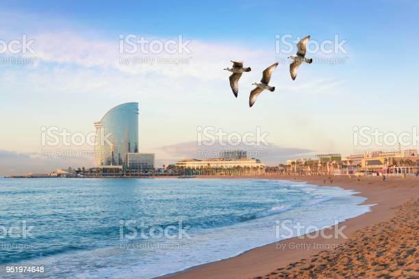 Barceloneta beach in barcelona with colorful sky at sunrise seafront picture id951974648?b=1&k=6&m=951974648&s=612x612&h=dsdthneusnzrbkb3gax5u938zept6etjkv5spk7p1du=