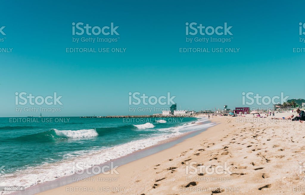Barceloneta beach in Center of Barcelona, Catalonia, Spain stock photo