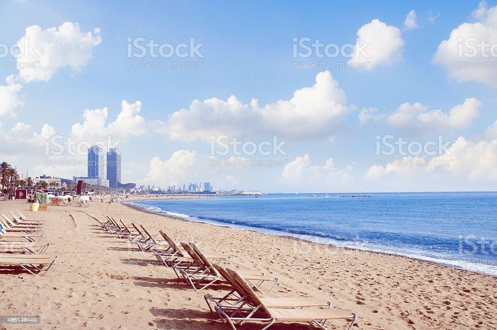 Barceloneta beach in the Barcelona stock photo